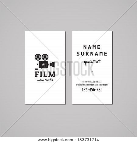 Film movie and video business card design concept. Logo with retro video camera. Vintage hipster and retro style.