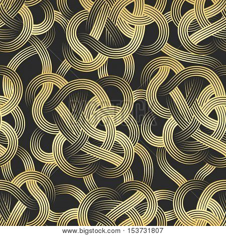 Golden stripes abstract effortless pattern. Vector illustration