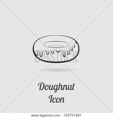 Greyscale Icon of Donut with Lettering. Vector EPS 10