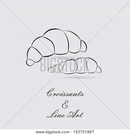 Greyscale Icon of Croissants with Exquisite Lettering