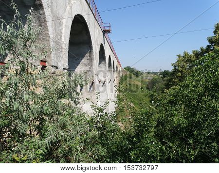 Viaduct Railway bridge on a background of dense vegetation. poster