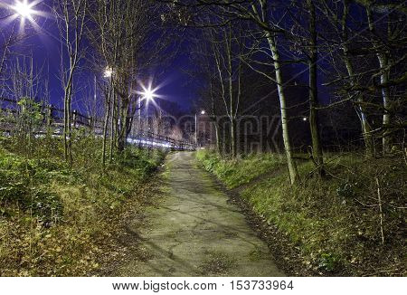 A night-time view of an eerie urban footpath.