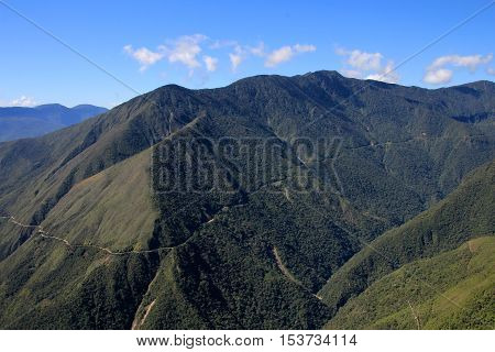 Panoramic view of death road, so called the worlds most dangerous road in Bolivia South America