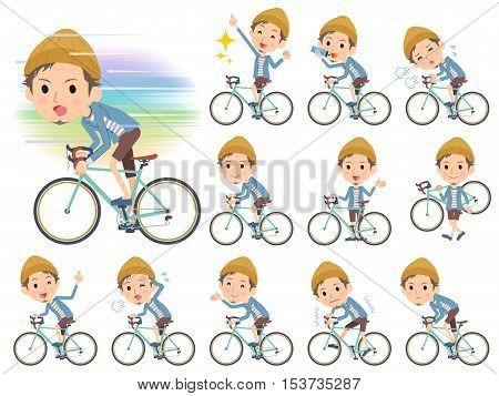 Set of various poses of Jacket Short pants knit hat man on rode bicycle