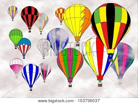 Many colorful hot air balloons drifting in a cloudy sky