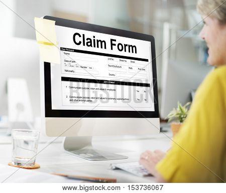 Claim Form Document Refund Indemnity Concept