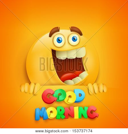 Good morning concept card with yellow smiley character. Vector illustration
