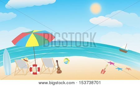 a summer sea sand beach vector background