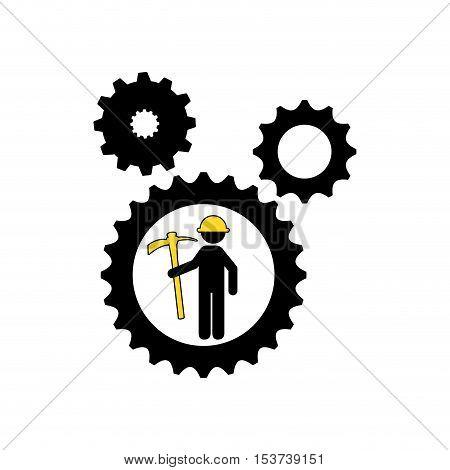 man mining gears pickax icon vector illustration