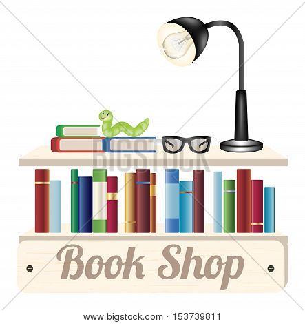 Book shop wood board with book reading glasses and reading lamp on a wood book shelf