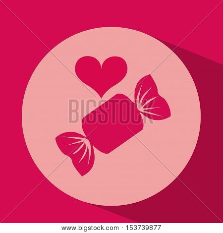 heart red cartoon candy icon design vector illustration