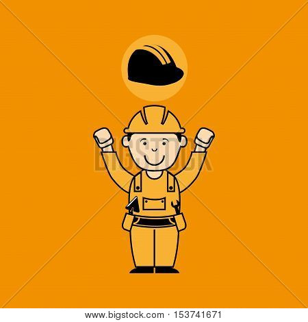 avatar man construction worker with helmet icon vector illustration
