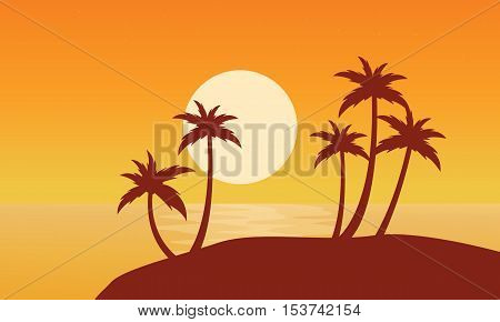 At sunset palm on seaside scenery vector flat