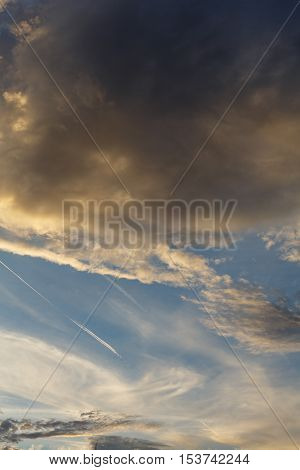 Cumulus clouds against a blue sky. Partly Cloudy. Anticyclone. Weather forecast.