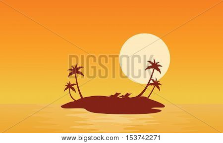 Islands scnery at sunrise of silhouettes vector illustration