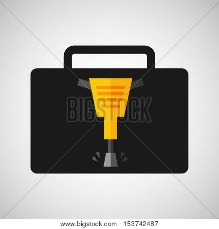 tool box jackhammer construction icon design vector illustration eps 10