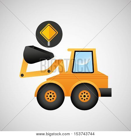 excavator wheeled machinery sing tool vector illustration
