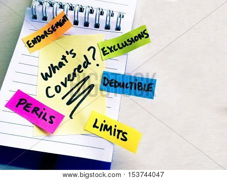 Confusing insurance coverage words written on a notepad as a colorful checklist of things to ask what's covered by policy to an insurance company or representative about home or car insurance policy terms and conditions or in a claim situation
