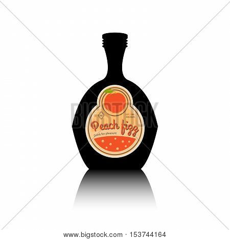 Black bottle silhouette with reflection and vintage fruit label. Peach fizz vector illustration