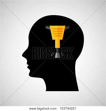 head silhouette jackhammer construction icon graphic vector illustration eps 10