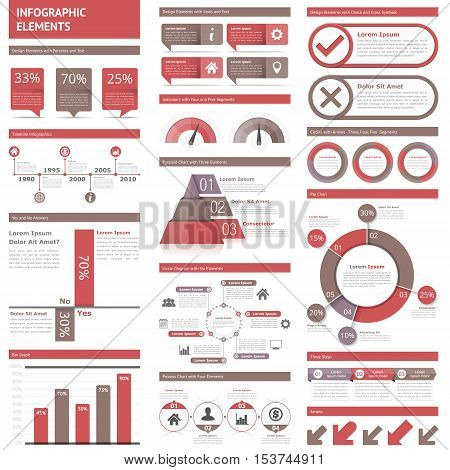 Infographic elements - timeline, bar graphs, pyramid chart, process chart, pie chart, process diagrams, flowcharts, workflow, steps, options, percents, statistics, vector eps10 illustration