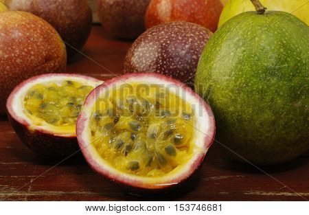 Passion fruits food at on wooden background