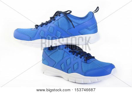 sport blue shoes at on white background