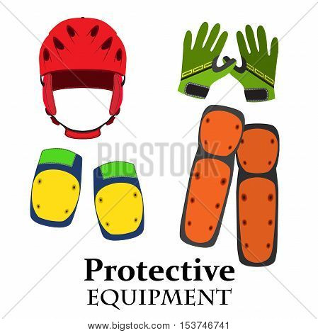 Protection equipment for bike gear for bicycle in flat style. Helmet knee pads elbow pads gloves in bright trendy colors.
