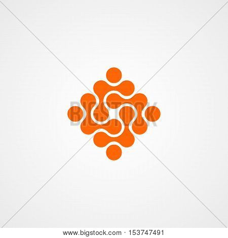 molecular logo icon with connected circle and orange color