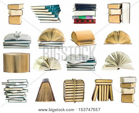 Books collection isolated on a white background