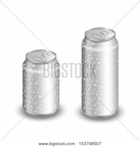 Mock up of aluminum can with water drops. Two cold aluminum cans isolated on white. Blank aluminum can. Aluminum cans for soda and beer.