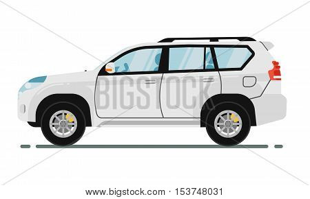 SUV car isolated on white background. Vector SUV car. Sport utility Vehicles cartoon car isolated. SUV car side view isolated. Offroad car or 4x4 car cartoon style. Modern car model. Off road 4x4 car. For car rental service or car sale poster. Car ad.