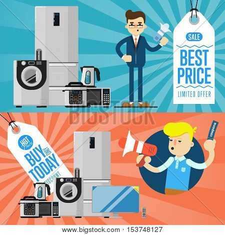 Best prise and buy today flyers with household appliances vector illustration. Sale tag, discount symbol, retail sticker. Advertisement campaign on kitchen electro technics. Dealer with megaphone
