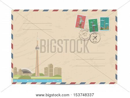 TV tower of Toronto, Canada. Vintage postal envelope with famous architectural composition, postage stamps and postmarks on white background vector illustration. Airmail postal services.