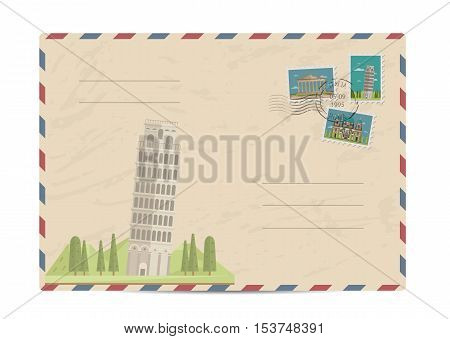 Leaning tower in Pisa, Italy. Vintage postal envelope with famous architectural composition, postage stamps and postmarks on white background vector illustration. Airmail postal services.