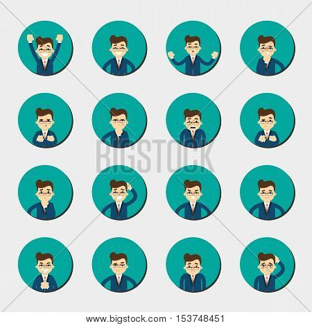 Cartoon man in various poses and facial expressions. People emotional round icons isolated on white background, vector illustration. Collection of female avatars faces. Different emotions icon set.