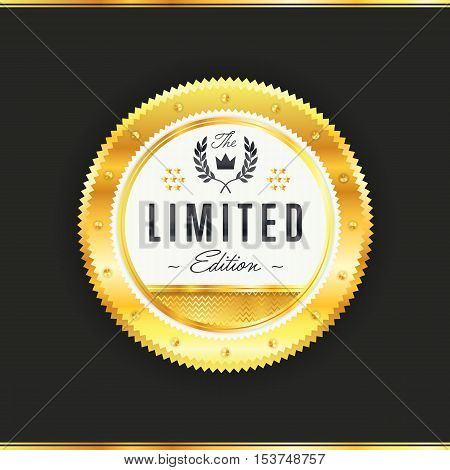 Gold metal badge vintage style isolated vector illustration. Icon of gold badge. Limited edition badge. Award or medal of limited edition golden badge. Golden badge vector.