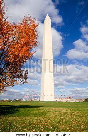 Washington Monument Autumn Framed Leaves Blue Sky