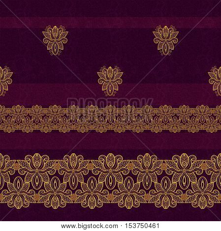 Horizontal floral border. Pattern seamless. Gold lace. Golden crystals weaving arabesques. Dark rich velvet background. Openwork Textile weaving coarse thread.