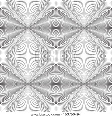 Seamless black and white texture with lines emanating from the center. Vector background for your creativity