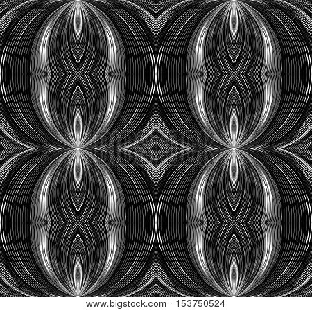 Seamless black and white texture with curved lines emanating from the center. Vector background for your creativity