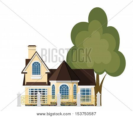 Cute little house. Cartoon house with a beautiful fence and green tree on a white background. Illustration of the cozy rural home isolate. Stock vector