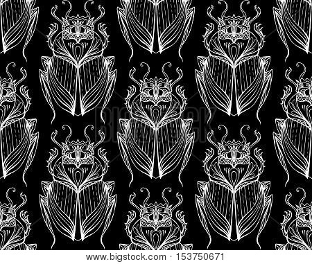 Pattern of white scarab with boho pattern on black background. Vector pho for your creativity