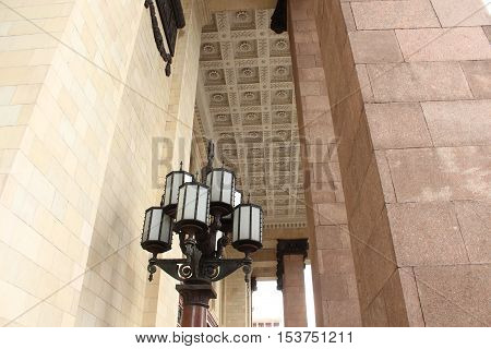 Walls, columns, and ceiling of the main entrance to the building of Moscow State University