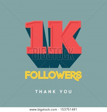 Vector thanks design template for network friends and followers. Thank you 1000 followers card. Image for Social Networks. Web user celebrates a large number of subscribers or followers