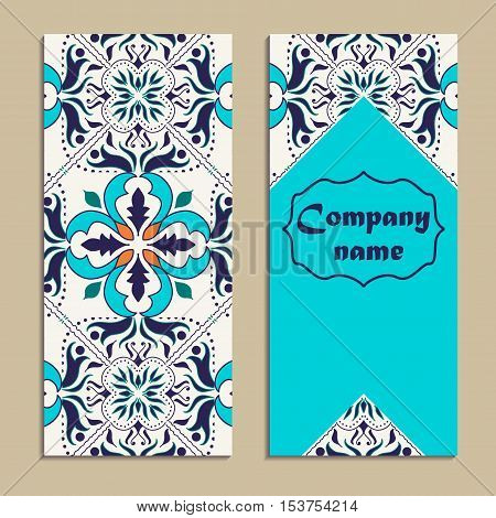 Vector set of colorful vertical banners for business and invitation. Portuguese Azulejo Moroccan; Arabic; asian ornaments. Geometric and floral motifs