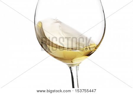 white wine splash with white background, close up