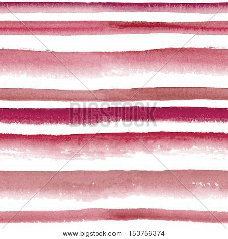 Abstract watercolor red wine striped seamless pattern