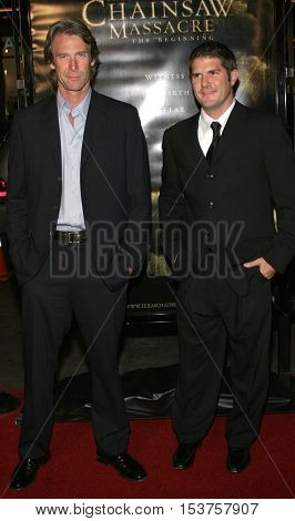 Michael Bay and Jonathan Liebesman at the Los Angeles premiere of 'The Texas Chainsaw Massacre: The Beginning' held at the Grauman's Chinese Theater in Hollywood, USA on October 5, 2006.