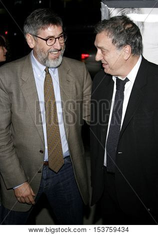 John Landis and Stephen Frears at the Los Angeles premiere of 'The Queen' held at the Academy of Motion Picture Arts and Sciences in Beverly Hills, USA on October 3, 2006.